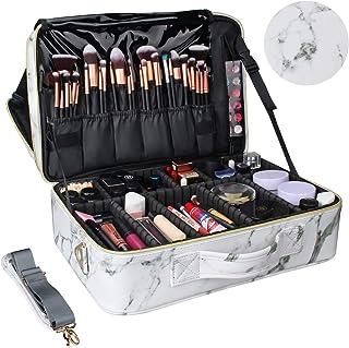حقيبة مكياج للسفر، حقيبة مستحضرات التجميل الاحترافية من Chomeiu- حقيبة إكسسوارات، حقيبة أدوات (أسود-M) (أحمر وردي)