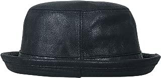 Vintage Faux Leather Rolled Short Brim Fedora Flat Pork Pie Hat