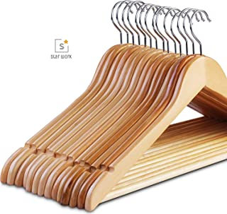 Star Work Clothes Hangers, Wooden Hangers Ultra Thin Space Saving Non-Slip Hangers Velvet Hangers Suit Hangers Ideal for Everyday Standard Use, Clothing Hangers (12)