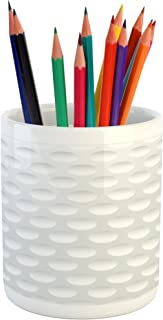 Lunarable Grey Pencil Pen Holder, Atrsy Circle Rounds Design Spherical Golf Balls Club Recreation Sports Hobby Themed Image, Ceramic Pencil Pen Holder for Desk Office Accessory, 3.6