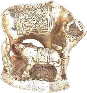 Indianshelf Handmade Brass Plated Cow Feeding Her Calf Statues Decoration Designer Vintage Statement Pieces Online New