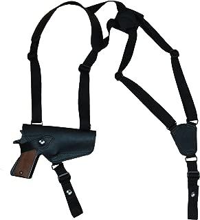 Barsony New Horizontal Black Leather Shoulder Holster for Full Size 9mm 40 45