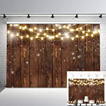 Mocsicka Rustic Wood Photography Backdrop Shinning Lights Vintage Wooden Backdrops 7x5ft Rustic Wedding Birthday Baby Shower Bridal Shower Photo Background Party Studio Props