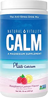 Natural Vitality Calm #1 Selling Magnesium Citrate PLUS Calcium, Anti-Stress Magnesium Supplement Drink Mix, Raspberry-Lem...