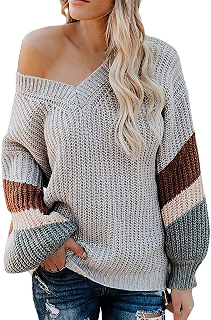 Women's Chunky Knit Sweater Long Sleeve Color Block Pullover V Neck Drop Shoulder Oversized Knitwear Jumper