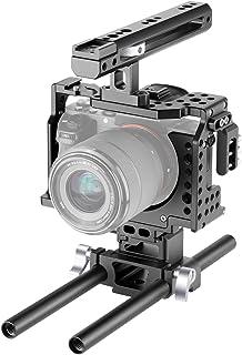 Neewer Cámara Video Jaula Rig Compatible con Cámara Sony A7RIII / A7III con Empuñadura Superior y Zapata Fría Diseño de Aluminio de Aviación para Hacer Película/Video