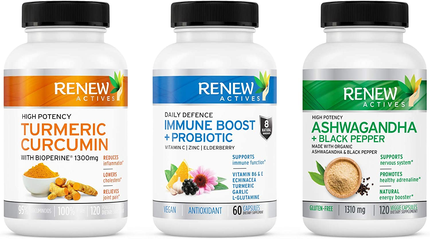 Renew Actives 3 in 1 2021 new Supplement Curcumin Bundle + Imm - Turmeric NEW before selling ☆