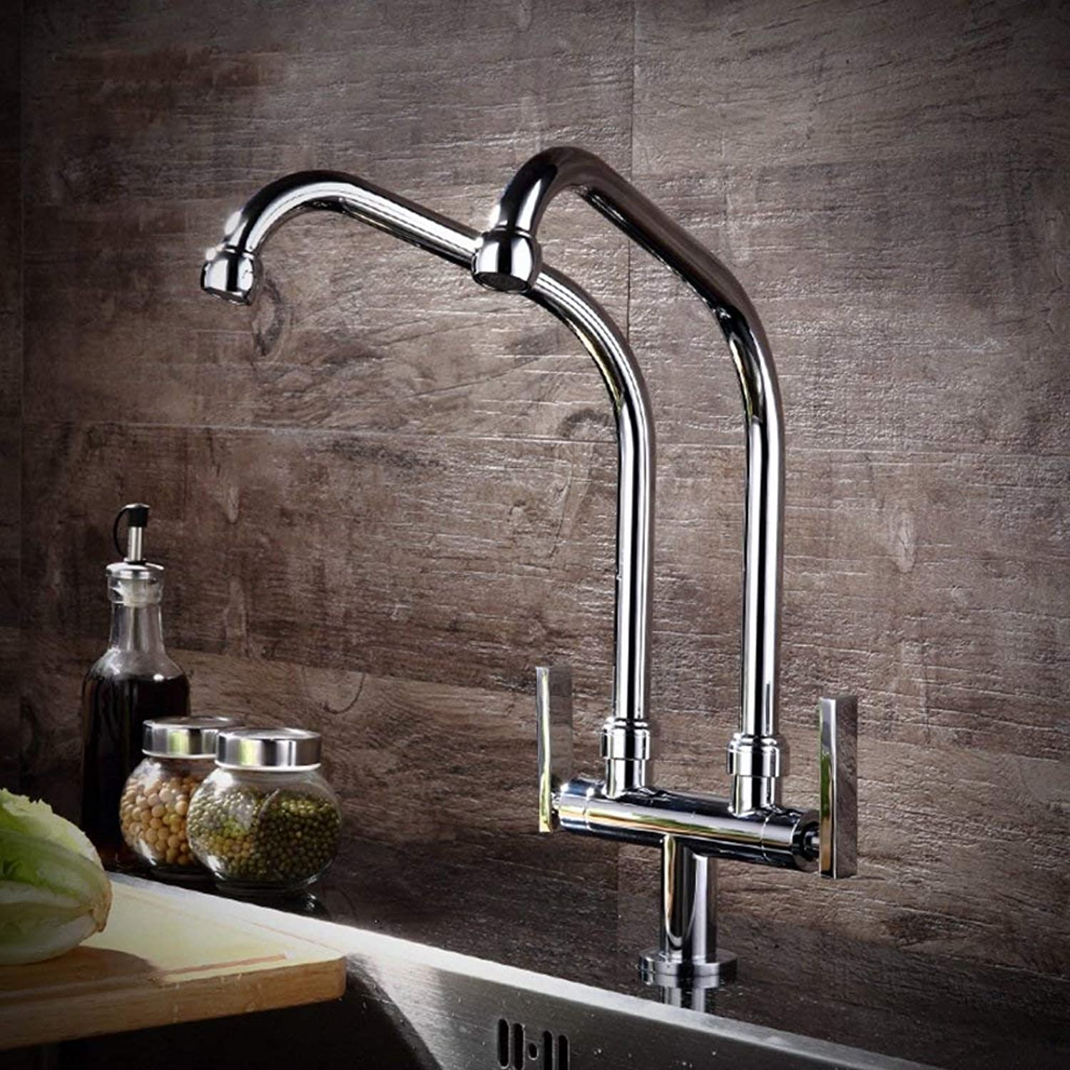 BMY Kitchen Sink Taps Modern Minimalist Pure Copper Kitchen Faucet Cold Type Double Pipe Faucet Wash Basin Sink Can Be redated Faucet (Size   B)