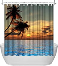 ArtBones Ocean Seascape Shower Curtain Coastal Sunset Tropical Palms Tree Polyester Fabric Bathroom Curtains Waterproof with 12 Hooks 72x72 inches