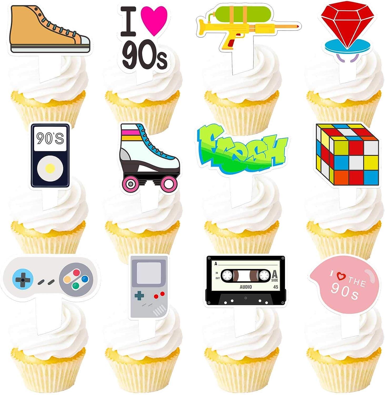 90s Cupcake Topper 1990s Retro Max 53% OFF Theme for Picks List price 90's Decade Decor