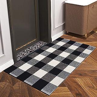 Indoor Outdoor Doormat with Latex Backing, Entryway Welcome Mats, HIPPIH Cotton Plaid Entrance Rug Shoes Scraper, Low-Profile Inside Front Door Mat Non Slip for Doorway, Bathroom, Entry Way, Bedroom
