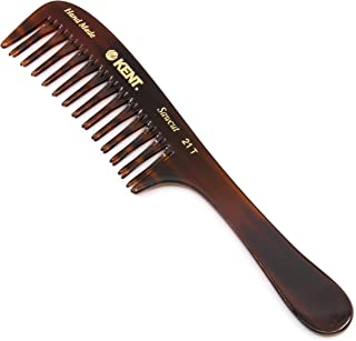 Kent 21T Hand Made Curved Double-Row Detangling Comb for Women, 7.5 Inch, 1 Ounce (1-Pack)
