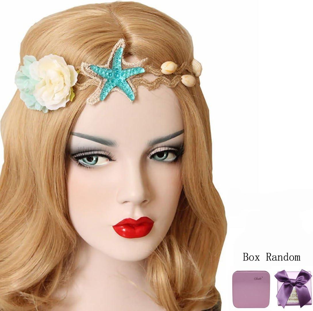 Scala Fashion mujeres niñas playa carcasa de estrella de mar cuerda de cáñamo Flores pelo banda