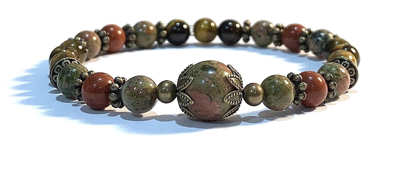 Handmade Unakite Tigers Eye and Red 7 Healing Same day shipping Bracelet I Jasper Brand new