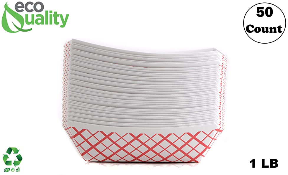 50ct Heavy Duty Disposable Paper Food Tray (1 LB) - Red Check Food Tray, USA MADE, Recyclable, Biodegradable, Compostable, Great for Picnics, Carnivals, Party, Camping, BBQ, Restaurants, Fries