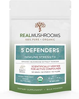 5 Defenders Organic Mushroom Extract Blend by Real Mushrooms - Chaga, Reishi, Shiitake, Maitake and Turkey Tail Powder - Immune Defense - 45g - Perfect for Shakes, Smoothies, Coffee and Tea