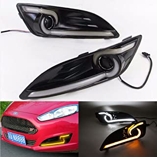 2X LED Daytime Running Lights DRL Fog Lamp For Ford Fiesta With Amber Turn Signal Light