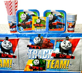 Thomas All Aboard Train Party Supplies Pack for 16 Guests | 24 Paper Straws, 16 Dessert Plates, 16 Beverage Napkins, 16 Cups, and 1 Table Cover | Train Decorations For The Perfect Train Birthday Party