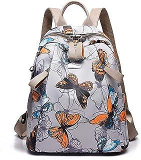 Mujer Mochila Moda Bolso Escolar con Orificio para Auriculares Niña Daypack Trabajo Compras Universidad Dating Backpack Duradero Nylon Mariposa