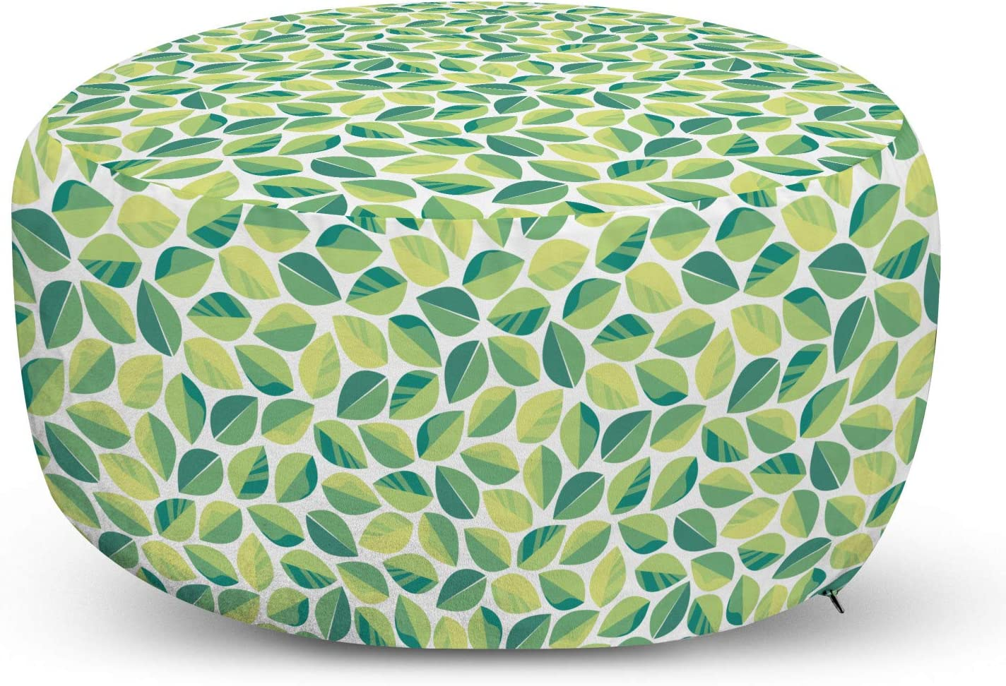 Max 83% OFF Lunarable Leafage Ottoman Pouf Detroit Mall Botanical Oval Continuous Natura
