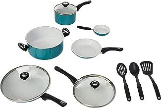 Farberware 17494 Ceramic Nonstick Cookware Pots and Pans Set, 12 Piece, Aqua