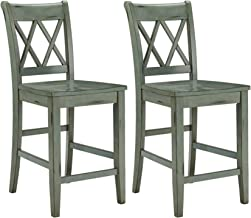 Ashley Furniture Signature Design - Mestler Bar Stool - Counter Height - Vintage Casual Style - Set of 2 - Blue/Green