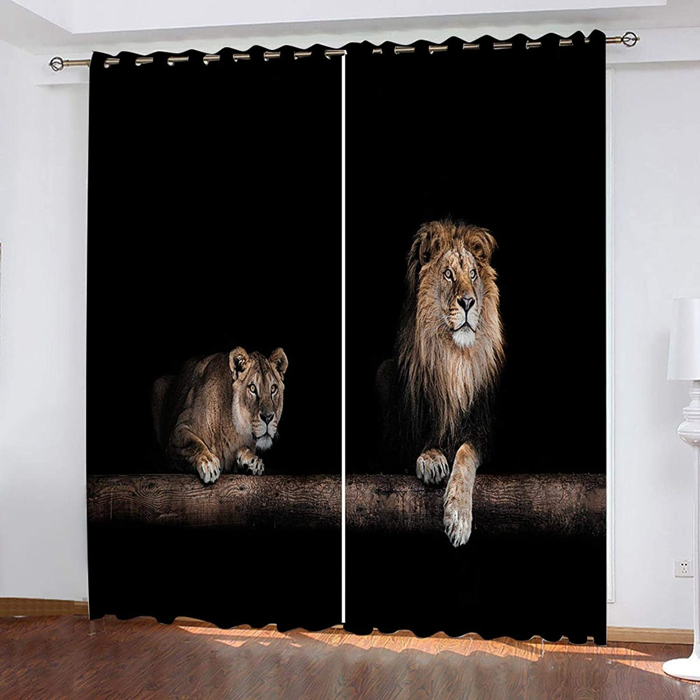 JNWVU Blackout ご注文で当日配送 Curtains 103X96 in E Background Black 上等 Animal Lion