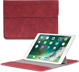 MoKo 9-10 Inch Sleeve Bag with Stand Function, Portable PU Leather Case Protective Origami Standing Cover for iPad 9.7 2018/2017, iPad Pro 9.7, iPad 1/2/3/4, iPad Air 2, Boogie Board 8.5 - RED