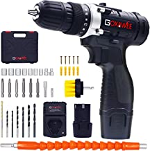 Cordless Drill with 2 Batteries - GOXAWEE Electric Screw Driver Set 100pcs (Max Torque 30Nm, 2-Speed, 10mm Automatic Chuck...