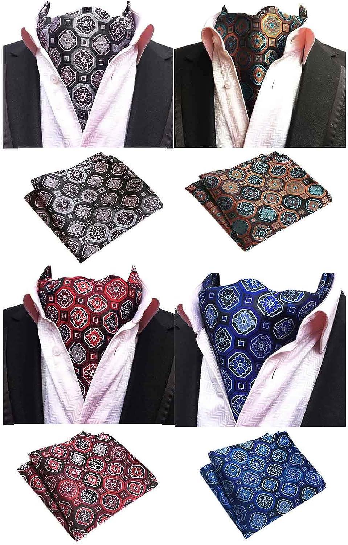 Mens 4 Pack Luxury Plaid Cravat Wedding Ascot Scarf Tie & Pocket Square Set 4Pcs