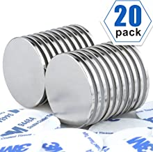 Strong Neodymium Disc Magnets with Double-Sided Adhesive, Powerful, Permanent, Rare Earth Magnets. Fridge, DIY, Building, Scientific, Craft, and Office Magnets, 1.26 inch x 0.08 inch - Pack of 20