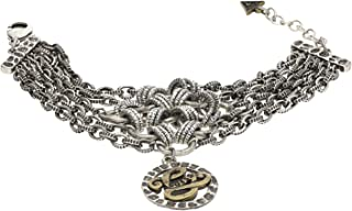 Guess UFB50802 Stainless Steel Filigree Logo Charm Multi-Link Chains Bracelet for Women - Silver