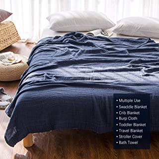 EMME 100% Cotton Muslin Blankets for Adults 4-Layer Breathable Muslin Throw Blanket Pre-Washed Lightweight Bed Blankets Soft Cotton Blanket All Season (Navy, 55