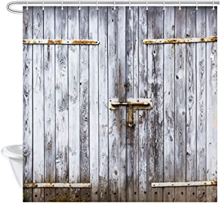Rustic Shower Curtain, Old Wooden Barn Door of Farmhouse Oak Countryside Village Board Rural Life Photo Print Shower Cutains for Bathroom, Waterproof Fabric Bath Curtain with 12PCS Hooks, 69X70in