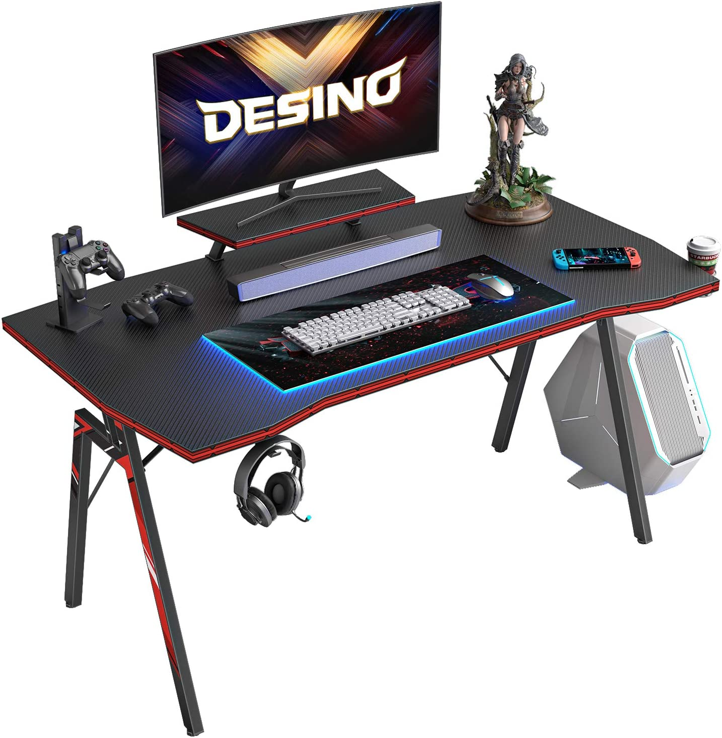 Desino Gaming Desk 40 Inch Pc Computer Desk Home Office Desk Table Gamer Workstation With Cup Holder And Headphone Hook Black Amazon Co Uk Home Kitchen