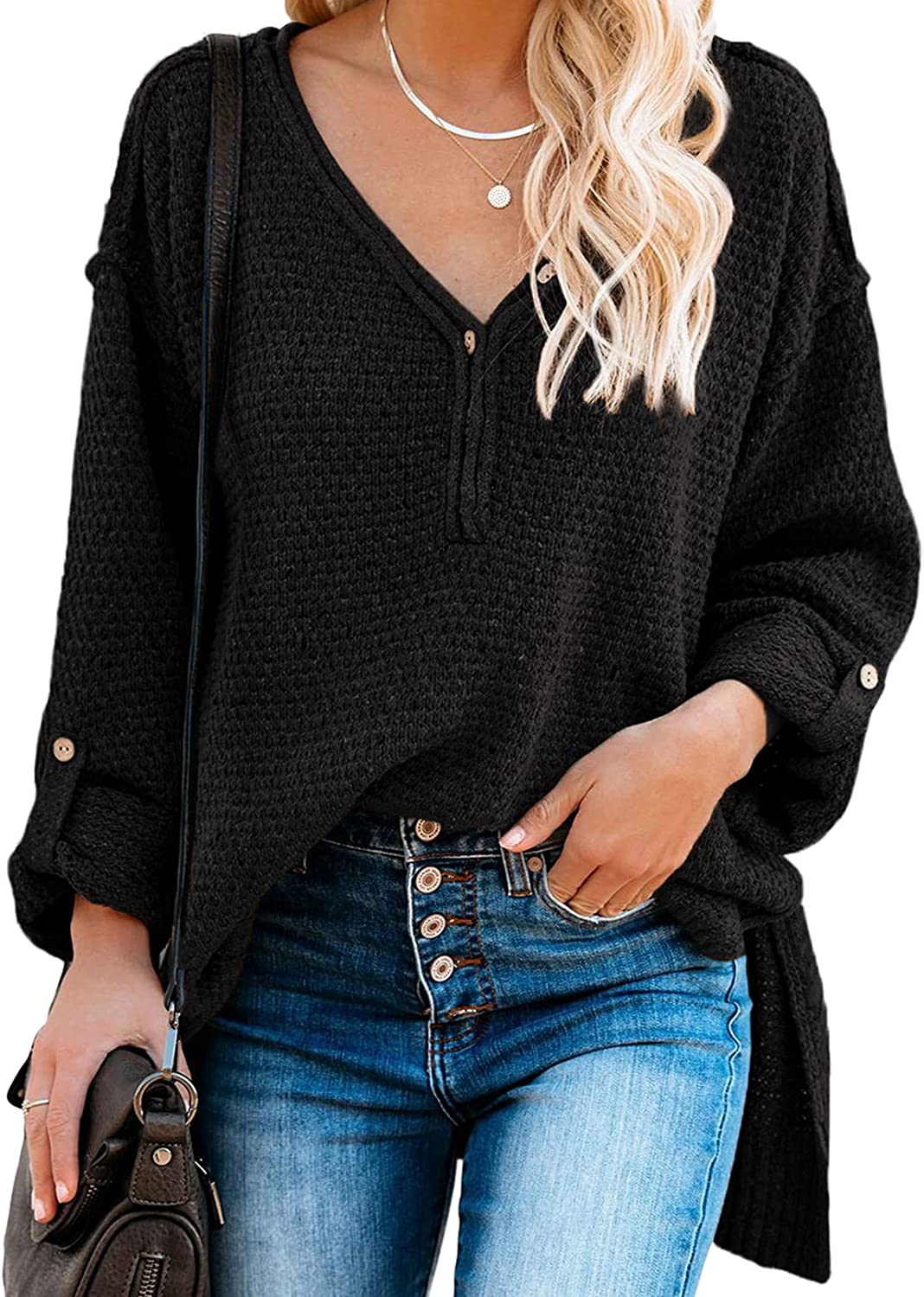 Actloe Sweaters for Women Long Sleeve Tunic Tops Button Front Loose Oversized V Neck Knit Pullover Jumper