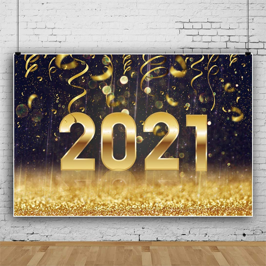 Laeacco Happy New Year 2021 Background 10x6.5ft Merry Christmas Vinyl Photography Backdrop Golden Glitter New Year Celebration Xmas Eve Carnival Party Banner Golden Ribbon Family Photo Studio Prop