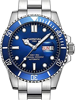 Mens Automatic Watches Classic Automatic self Wind Watch Rotatable Bezel Stainless Steel Business Watch