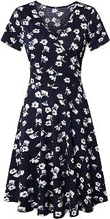 SUNGLORY Women's Cross V Neck Short/Long Sleeve Casual Flared Warp Dress with Pockets