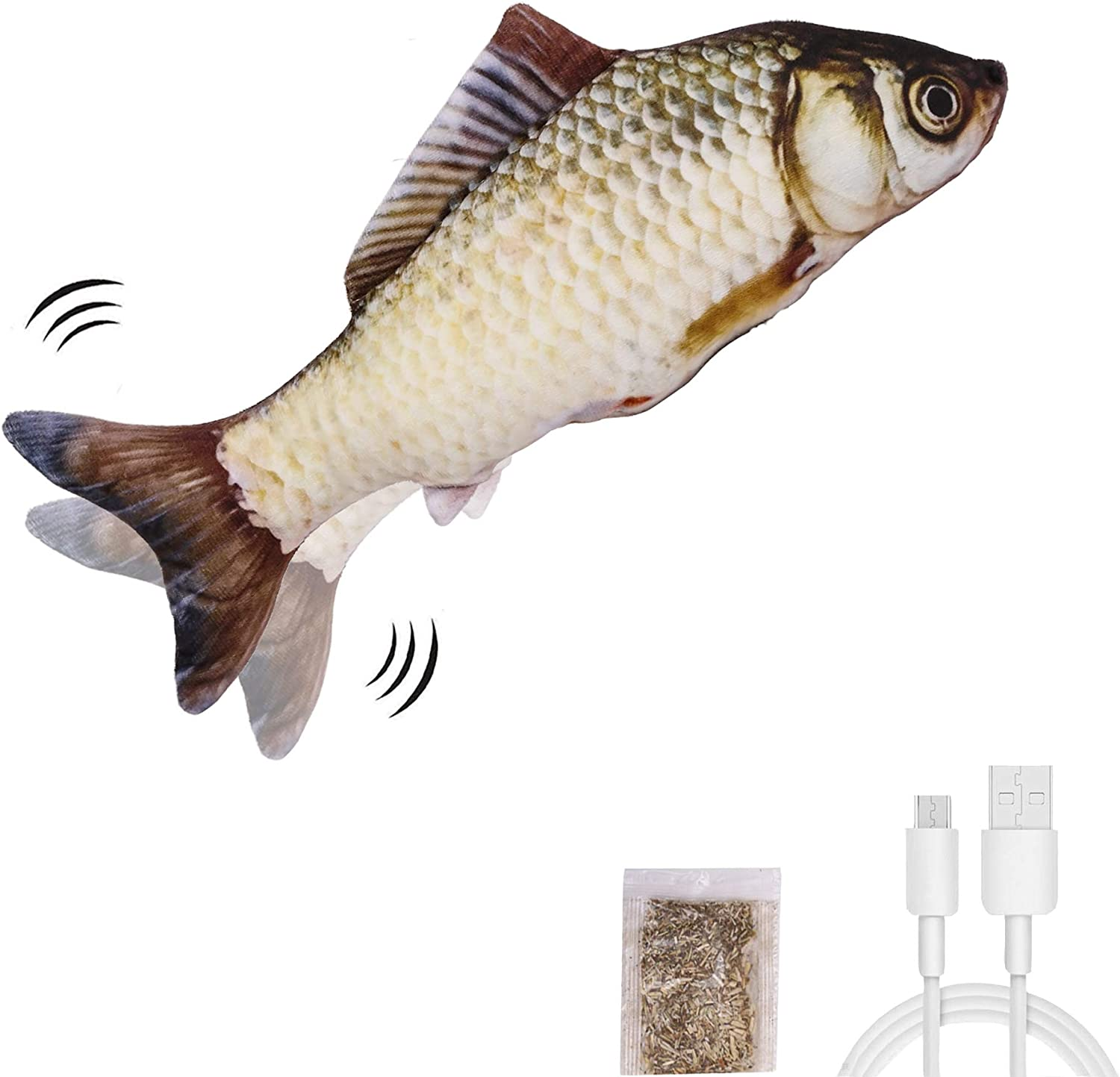 Funny Interactive Pets Pillow Chew Bite Kick Supplies for Cat Kitten Kitty Realistic Plush Simulation Electric Wagging Fish Cat Toy Catnip Kicker Toys UPSKY Electric Moving Fish Cat Toy