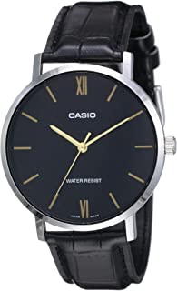 Casio MTP-VT01L-1BUDF Crocodile Embossed Black Leather Round Analog Watch for Men