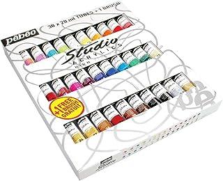 Pebeo Fine Studio Acrylics High Viscosity, Sets, Set of 30 x 20 ml, 20 Fl Oz