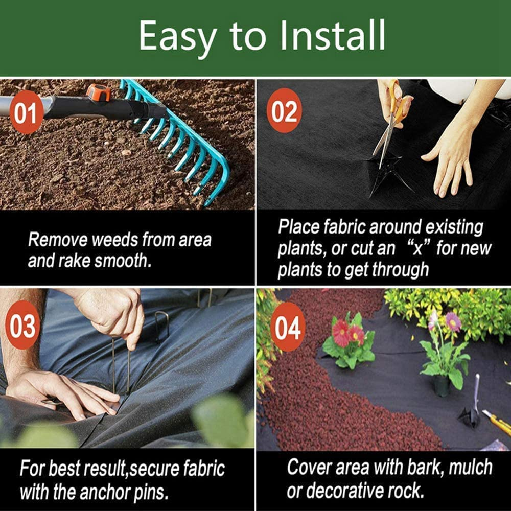 LIANWANG Weed Membrane Ground Cover Fabric Landscape Garden Control Heavy Duty 1m X 15m