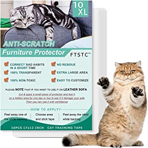 FTSTC Cat Scratch Deterrent Tape, 10PCS-Double Sided Furniture Protectors from Cats, Cat Scratch Repellent pad for Furniture, Anti-Scratch Training Tape, Couch Guards, Sticky Paws Post, 10PCS 17x12in