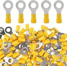 Glarks 100pcs 12-10 Gauge M8 Ring Electrical Insulated Quick Splice Crimp Terminals Connectors