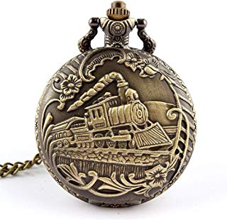 GlobalDeal Unisex Vintage Hollow Skeleton Dial Quartz Mini Pendant Pocket Watch Chain