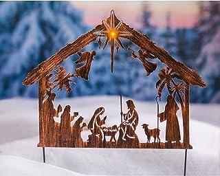 Evergreen Garden Beautiful Decorative Seasonal Illuminated Nativity Solar Garden Stake - 23 x 1 x 28 Inches Fade and Weath...