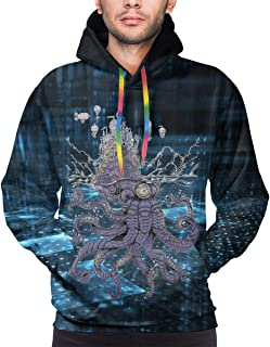 3D Novelty Hoodies A Sci-Fi Octopus Squid Castle Airship Pullover Sweatshirts for Men