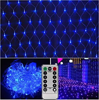 Blue Net Lights Christmas,Outdoor Decorative Mesh Lights with Remote,Drama Opera Wedding Party Background Light,9.8ft x 6.6ft,200 LEDs,8 Modes,Dimmable-Powered by 3 X Type D Batteries(Not Included)
