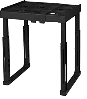 """Tools for School Locker Shelf. Adjustable Width 8"""" - 12 1/2"""" and Height 9 3/4"""" - 14"""". Stackable and Heavy Duty. (Black, Single)"""